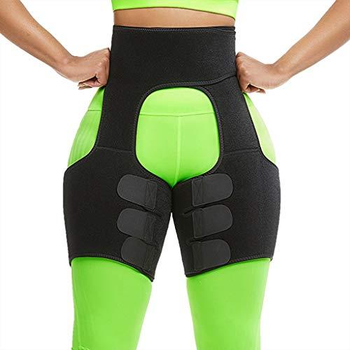 Fine Women's Fitness Belt,Waist Support Thigh Leggings,Breathable Sweaty Belt Waist Trimmer Body Shaper (Black, M)