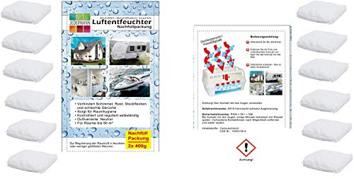 Vani 12 x 400 Gramm (4E) Luftentfeuchter Nachfüllpack Vliesbeutel XXL Box Granulate Nachfüllen Raumentfeuchter + gratis Microfasertuch 30 x 30 cm