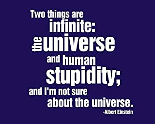 N.SunForest Albert Einstein Two Things are Infinite The Universe and Human Stupidity. Vinyl Wall Decal Sticker Quote