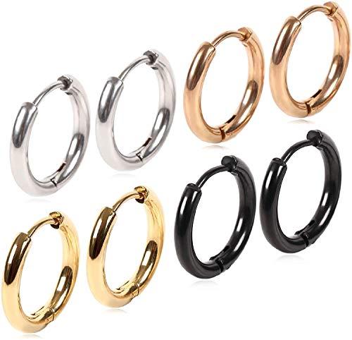 フープピアス イヤーカフ ジュエリー 男女兼用 幅2.5mm メンズ レディース 両耳用 リングピアス ステンレス アレルギーフリー (シルバー・ブラック・ゴールド・ローズゴールド4種8個セット) (18)