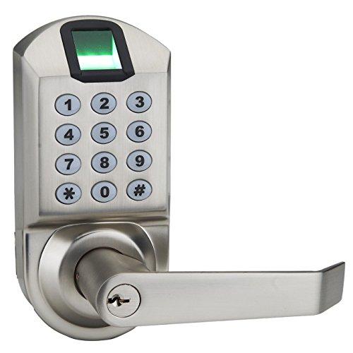 Fingerprint Door Lock, ARDWOLF A1 Keyless Biometric Keypad Door Locks with Reversible Lever and Automatic Locking, No Drills Needed - Satin Nickel, Provide with USA Local Repair Service