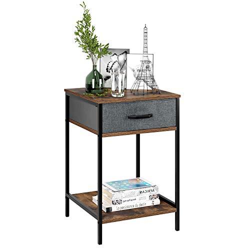 Homfa Comodino Tavolino da soggiorno Divano laterale Comodino con 1 cassetto in tessuto 2 ripiani Corridoio (1, Marrone)
