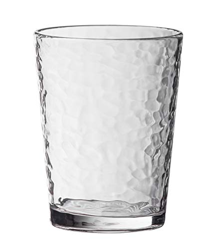 KLIFA- NICE series, Acrylic Tumbler Drinking Glasses Cups, Set of 6, BPA-Free, Stackable Drinkware, Dishwasher Safe, 14.7 oz, Clear
