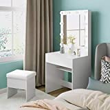 M&W Makeup Vanity Table Set with 3 Color LED Lighted Mirror, Dressing Desk with Large Drawer and Cushioned Stool for Bedroom, for Women, White