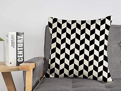 Funda de cojín decorativa de lino, diseño en espiga, monocromo, azulejos, abstracto, cheveron negro, cheveron, geométrico, infinito, suave, cuadrado, cojín, para sofá, silla, dormitorio, 18 'x 18'