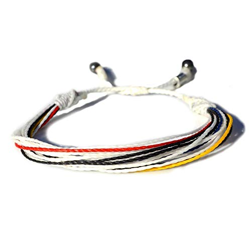 RUMI SUMAQ String Bracelet in Colors White, Black, Red, Blue and Yellow: Mens and Womens Nylon Cord Sports Fan Soccer Bracelet with Hematite Stones
