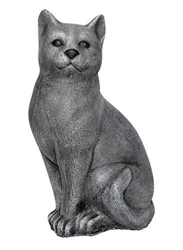 Steinfigur Katze groß - Schiefergrau, Garten, Deko, Stein, Figur, Frostsicher