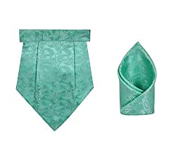 TieOn Mens Designer Cravat & Pocket Square Set_GREEN