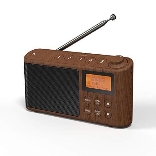 Radio Dab/Dab + y FM, Radio Portátil Digital Alimentado por batería y Red Principal, Radio Portátil Pequeña, Radio Digital Recargable con Carga USB de hasta 15 Horas de Reproducción (Efecto Madera)