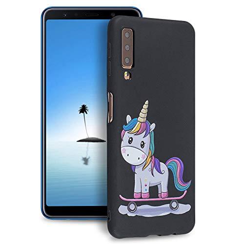 Huphant Kompatibel mit Samsung Galaxy A7 2018 (A750) Hülle, Silikon Handyhülle für Samsung Galaxy A7 2018 (A750) Case Stoßstange Gemaltes Tier Non-slip Anti-gelb Ultradünn Silikon Case -Einhorn
