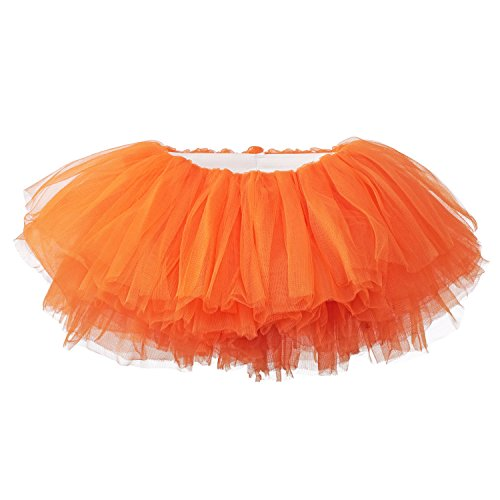 My Lello Little Girls 10-Layer Short Ballet Tulle Tutu Skirt (4 mo. - 3T) -Orange