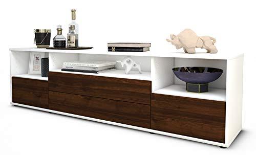 Stil.Zeit TV Schrank Lowboard Azula, Korpus in Weiss matt/Front im Holz-Design Walnuss (180x49x35cm), mit Push-to-Open Technik und hochwertigen Leichtlaufschienen, Made in Germany