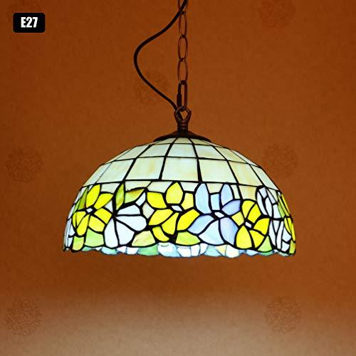 ACHNC Tiffany Lámpara colgante retro Lámpara de cocina E27 Vintage lámpara de techo estilo Tiffany pantalla de vidrieras pastorales Restaurante Bar Comedor Sala de estar Iluminación colgante,Ø30CM