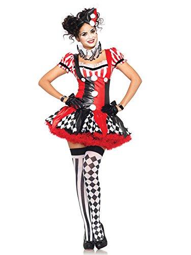 Sexy Harlekin Damenkostüm Clown schwarz rot weiss L