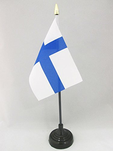 AZ FLAG Bandera de Mesa de Finlandia 15x10cm - BANDERINA de DESPACHO FINLANDESA 10 x 15 cm Punta Dorada