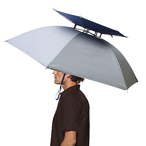Hunter's Tail UV Umbrella Hat with Double Canopy - Silver