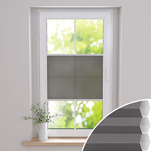 Gardinen21 Duette Wabenplissee zum Kleben | Waben Plissee ohne Bohren im Wunschmaß | Maßgefertigt für Türen & Fenster | Lichtdurchlässig, Sichtschutz und Schallschutz