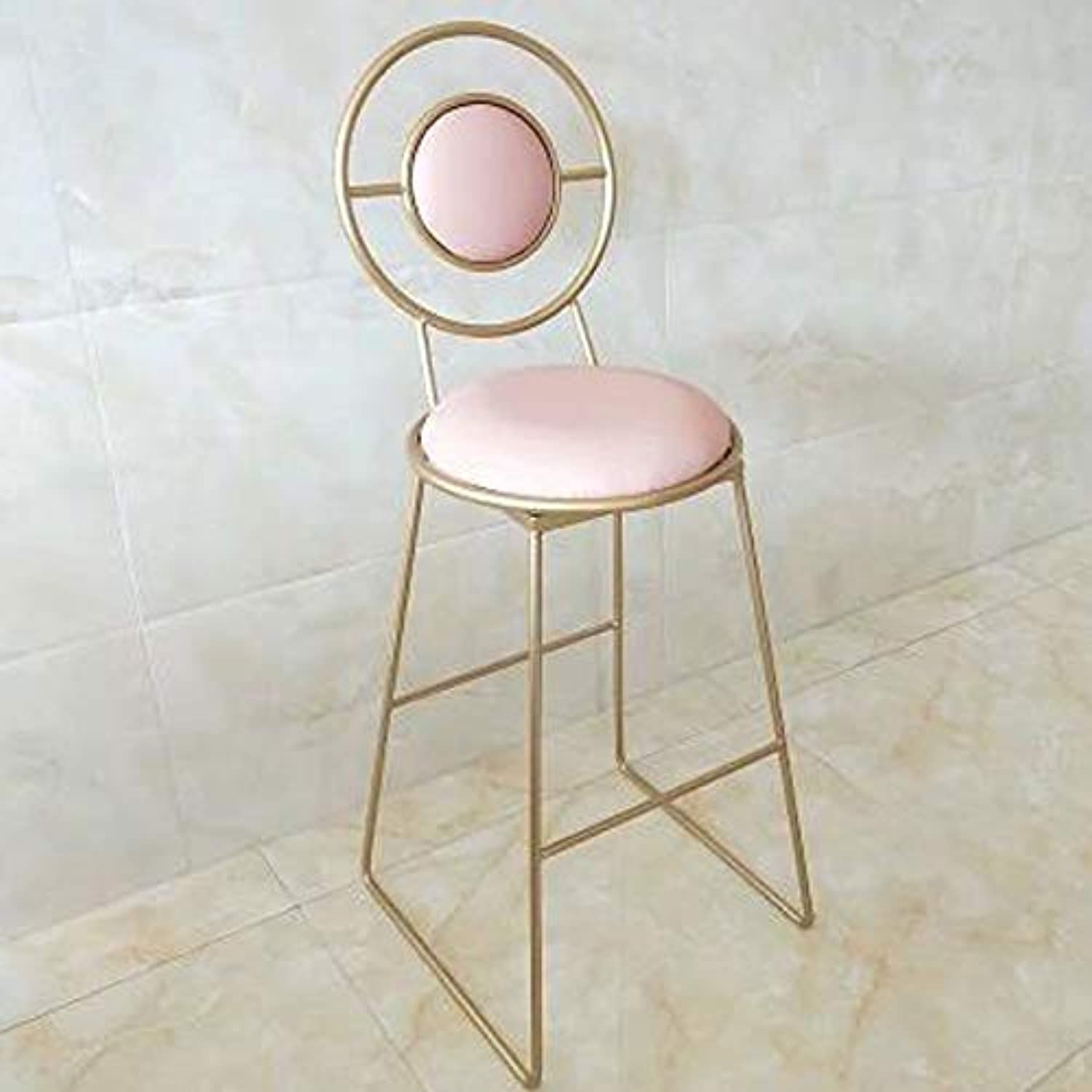 Barstools, European Bar High Chair golden Wrought Iron Back High Stool Modern Minimalist Home Coffee Shop Front Chair (color   K gold, Size   45cm)