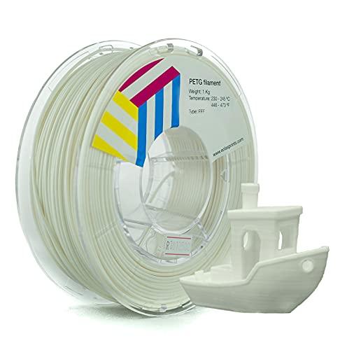 Eolas Prints | Filamento 1.75 PETG | Impresora 3D | Fabricado en España, Apto para usar con alimentos y crear juguetes | 1.75mm | 1Kg | Blanco