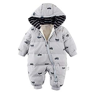 Baby nest ベビー服 ジャンプスーツ カバーオール クルマ 長袖ロンパース フード付き 防寒 秋冬用 男の子 女の子 グレー 3-6M