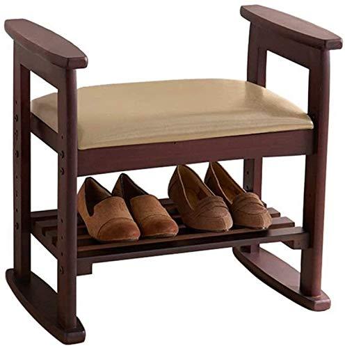 XINKONG 2 Cambiar Capa de Zapatos de Banco Ajustable Altura cómoda pequeño Taburete Corredor-Escabel sofá Taburete del Asiento de Banco de Madera