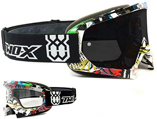 Gafas Race MX protectoras para motocross y enduro de Two-X, con cristal de espejo plateado y antiarañazos