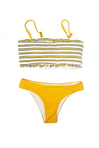 Marine Mermaid – Set bikini con reggiseno a fascia, costume da bagno da donna con stampa a righe e slip inclusi giallo S