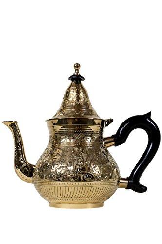 Marrakesch Orient & Mediterran Interior Marokkanische Teekanne aus Messing 1000ml mit Sieb und Kunststoffgriff | Orientalische Kanne Abidin Gold 1L mit Deckel | Verschiedene Grössen | (1000ml)