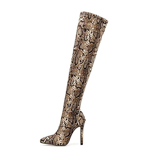 Frauen Overknee Stiefel Snake Print 11,5 cm High Heels Plus Size Stripper Lange Pleaser Stiletto Winter Oberschenkel Schuhe (Color : Serpentine, Shoe Size : 9.5)