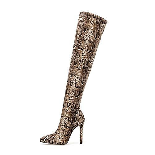 Frauen Overknee Stiefel Snake Print 11,5 cm High Heels Plus Size Stripper Lange Pleaser Stiletto Winter Oberschenkel Schuhe (Color : Serpentine, Shoe Size : 9.5)