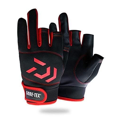 ouken 3 Finger Finger Angeln Handschuhe Premium-Segelhandschuh 3 Fingerless Anti-Rutsch-Outdoor-Sport-Handschuhe (rot, schwarz) 1 Paar