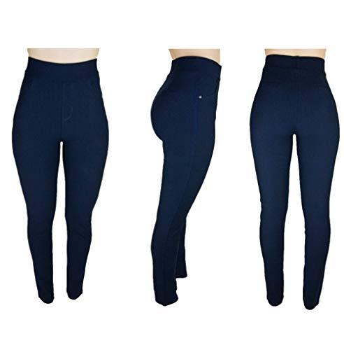 Trendcool. Leggins Mujer Vestir Azul Marino. Pantalones Mujer Elegantes. Leggins para Mujer. Cómodos Leggins Largos para Mujer. (Azul Marino, M/L)