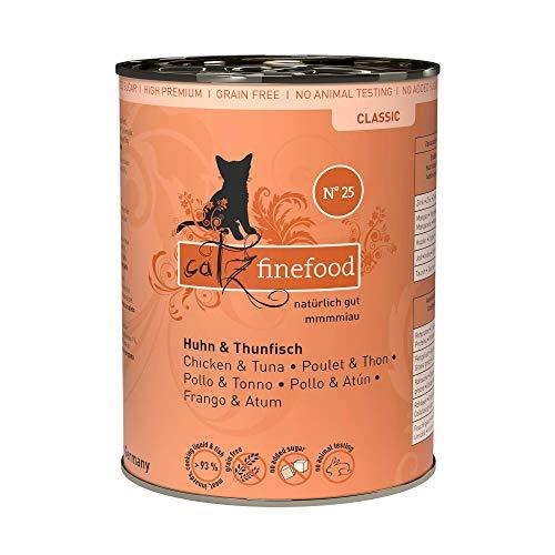 catz finefood N° 25 Huhn & Thunfisch Feinkost Katzenfutter nass, verfeinert mit Kürbis & Hagebutte, 6 x 400g Dosen