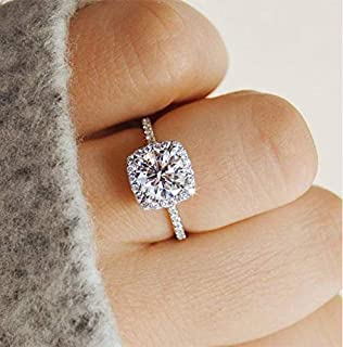 Metmejiao 3 Carat Simulated Diamond Engagement Ring Zircon Stone 925 Sterling Silver Engagement Wedding Band Ring Promise Rings (6)