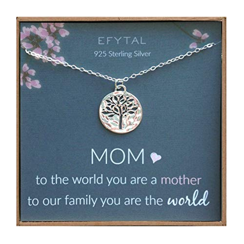 EFYTAL Mom Gifts, Sterling Silver Tree of Life Necklace For Her