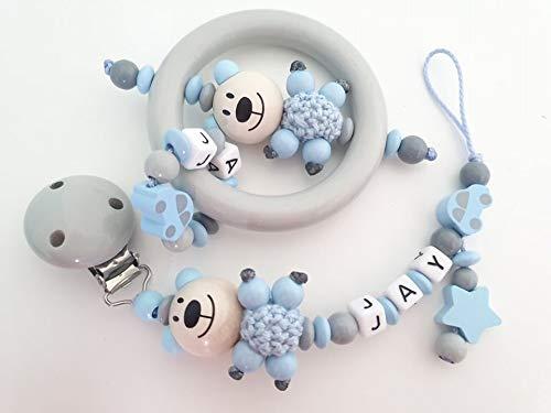 Spar Set: personalisierte Schnullerkette und Greifling - Junge Teddy - (Weiß, Hellblau, Auto)