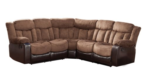 Hot Sale Homelegance 9605 Vera Reclining Sectional Sofa, Chocolate Microfiber and Dark Brown Bi-Cast Vinyl