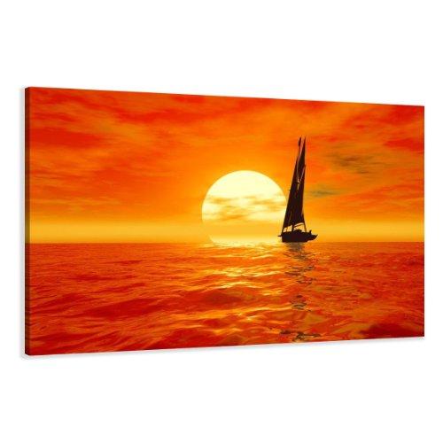 bestpricepictures 120 x 80 cm Bild auf Leinwand Boot Segel 5059-SCT deutsche Marke und Lager - Die Bilder/das Wandbild/der Kunstdruck ist fertig gerahmt