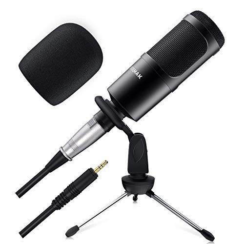 Condenser Microphone, JEEMAK 3.5mm Microphone with Stand for Gaming, Podcast, Recording, Streaming, Compatible with PC, Laptop, iPad, iPhone
