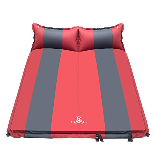 Double Self Inflating Pad Sleeping Mattress Air Bed Camping Hiking Mat Thicken 4 (RED)
