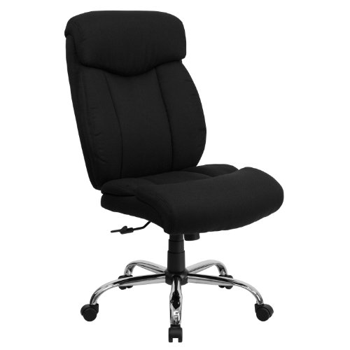 Flash Furniture HERCULES Series Big & Tall 400 lb. Rated Black Fabric Executive Ergonomic Office Chair and Chrome Base