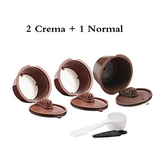 HUACHENG INOX et Plastique pour Capsule de café Dolce Gusto Rechargeable réutilisable Compatible avec Les filtres à café de Recharge Nescafé Dolci Gusto, 1 crème 2 Normale