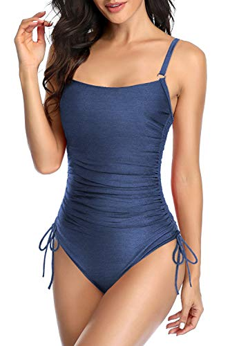 Upopby Women's Adjustable Ruched One Piece Swimsuits Monokini Push Up Padded Bathing Suits Slimming Tummy Control Swimwear Plus Size Navy Blue 18