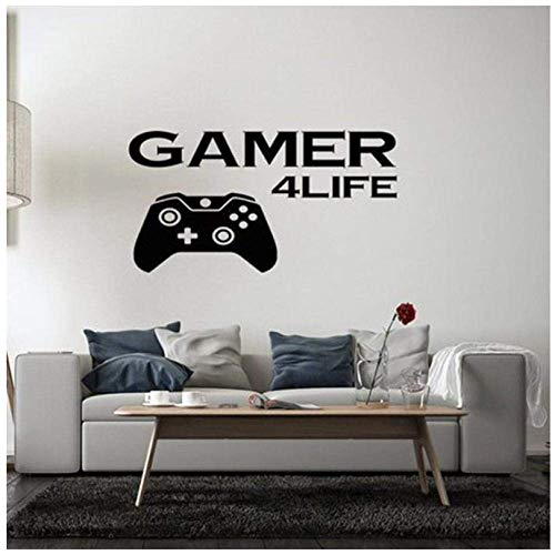 Players Life Wall Stickers Video Game Controller Wall Stickers Eat Sleep Game Wall Art Mural Kids Room Decoration Vinyl Wall Poster 57X108Cm