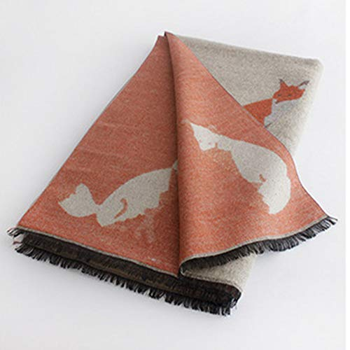 MYTJG Lady sjaal Fox-patroon sjaal dames sjaal en ingewikkeld vrouwelijke sjaal winterwarmer mode-comfortabele sjaal