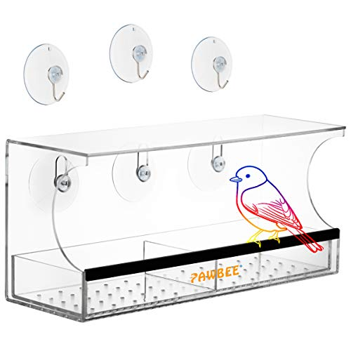 PAWBEE Window Bird Feeder  Large Wild Bird Feeder For Outside  Clear Acrylic Outdoor Bird Feeder amp Removable Bird Feeder Tray  Drain Holes amp Rubber Perch  Strong Suction Cups amp 3 Bonus Steel Hooks