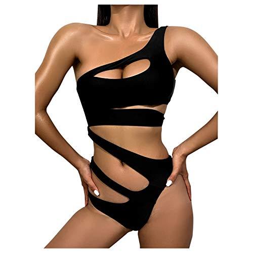 Maillot De Bain Femme 1 Pieces Sexy Ajouree Bandage Bikini Une Épaule Amincissant Ventre Plat Elegant Monokini Swimwear Été Plage Piscine Pas Cher A La Mode
