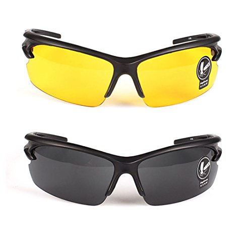 2 Pares Gafas Sol Unisex Visión Nocturna Lentes Amarillas
