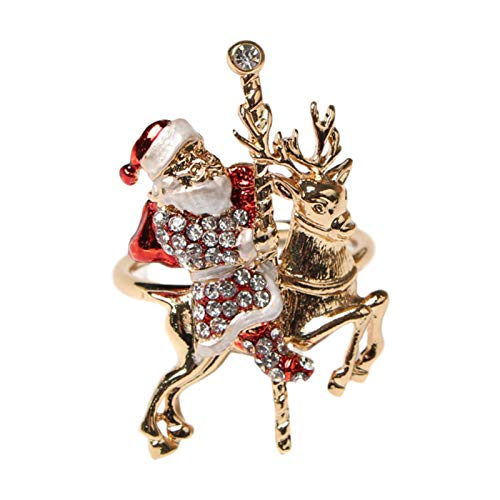 Foxlove Weihnachten Weihnachtsmann Serviettenring Silber Hirsch Elch Form Serviettenhalter Gold Silber Serviettenringe Schnallen Für Gedecke Hochzeit Hochzeit Familientreffen 6 Stück