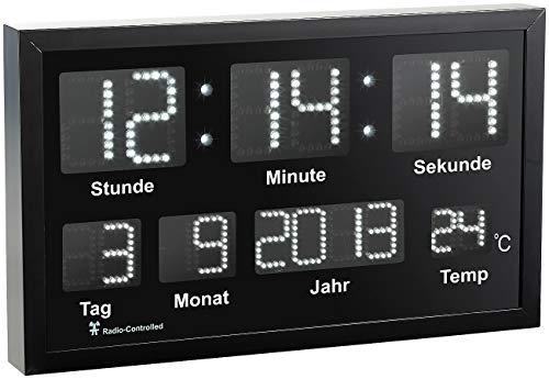 Lunartec Funkuhr beleuchtet: LED-Funk-Tisch- und Wanduhr mit Datum und Temperatur, 412 weiße LEDs (Multi LED Funk Uhr)